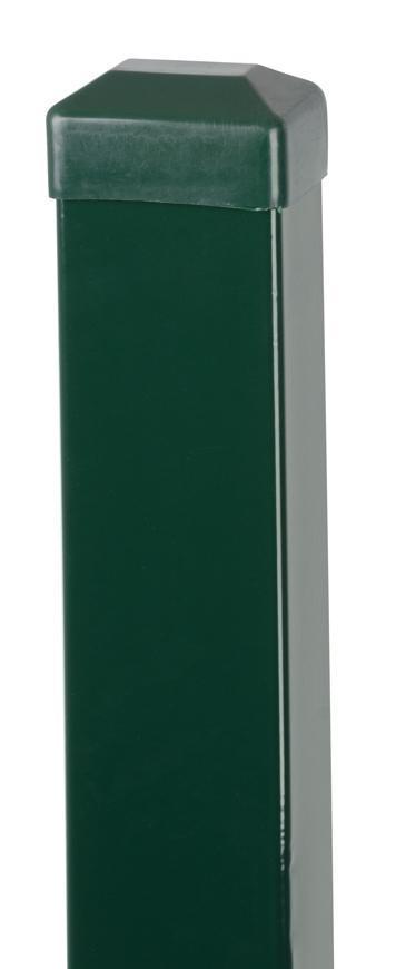 Stĺpik Strend Pro EUROSTANDARD, hranatý, zelený, čiapočka, Zn+PVC, RAL6005, 2600/60x40/1,50 mm