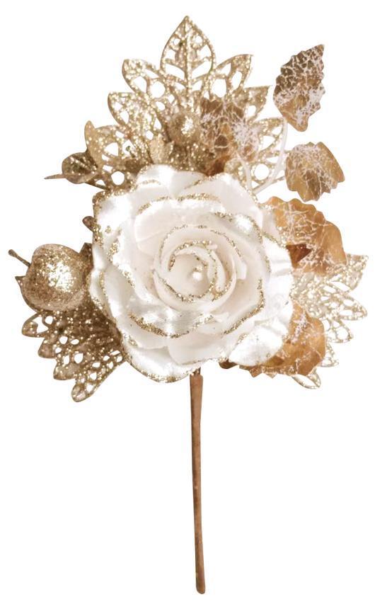Vetvička s ružou, krémová, 25,5cm, 6 ks