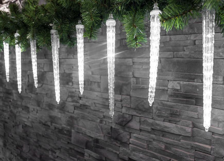 Reťaz MagicHome Vianoce Icicle, 352 LED studená biela, 16 cencúľov, vodopádový efekt, 230 V, 50 Hz,