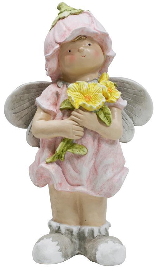 Dekoracia Gecco 9012, Anjelik s kvetmi, magnesia, 33x20x54 cm