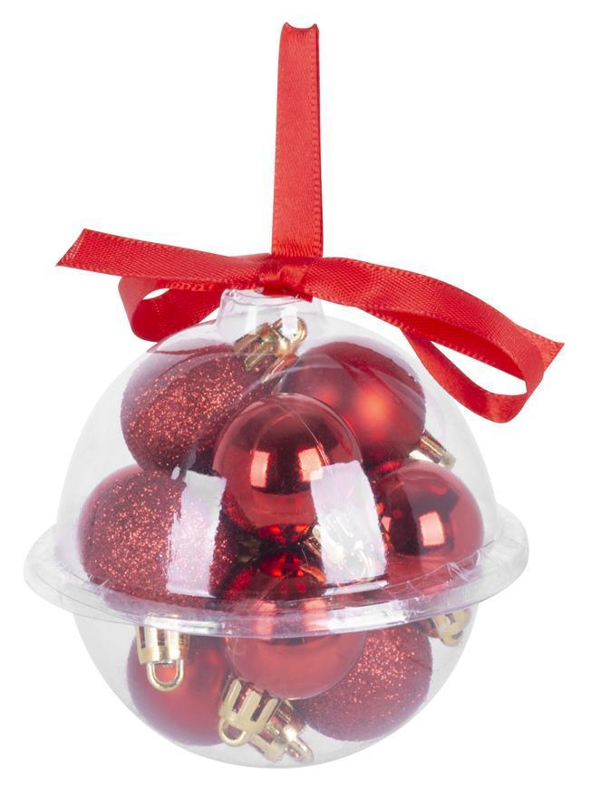 Gule MagicHome Vianoce, 12 ks, 3 cm, červené, na vianočný stromček