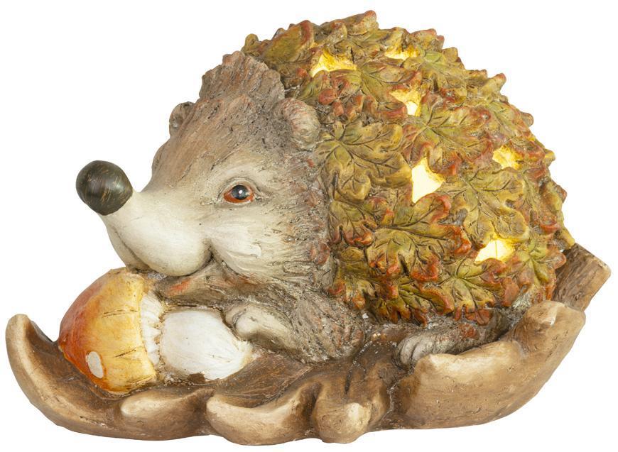 Dekorácia MagicHome Nature, Ježko s hríbom na liste, keramika, 36,50x24,50x23,50 cm