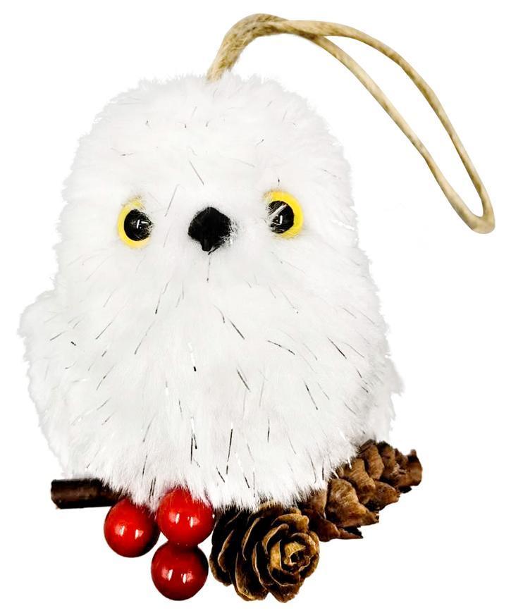Sova MagicHome Vianoce, biela, na šiškách, 7x8x19 cm