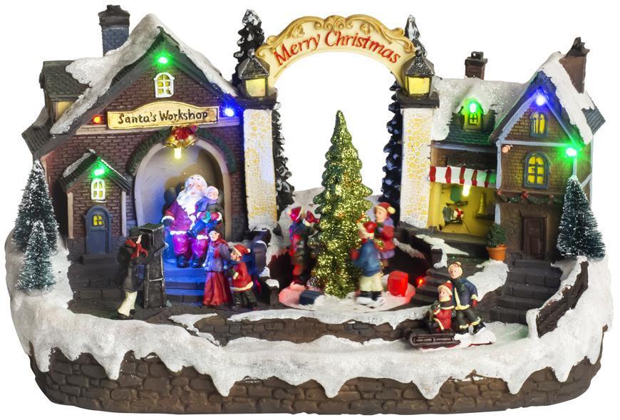 Dekorácia MagicHome Vianoce, Dedinka, 15 LED, farebná s melódiami, 3x AA, interiér, 33,50x18x20 cm