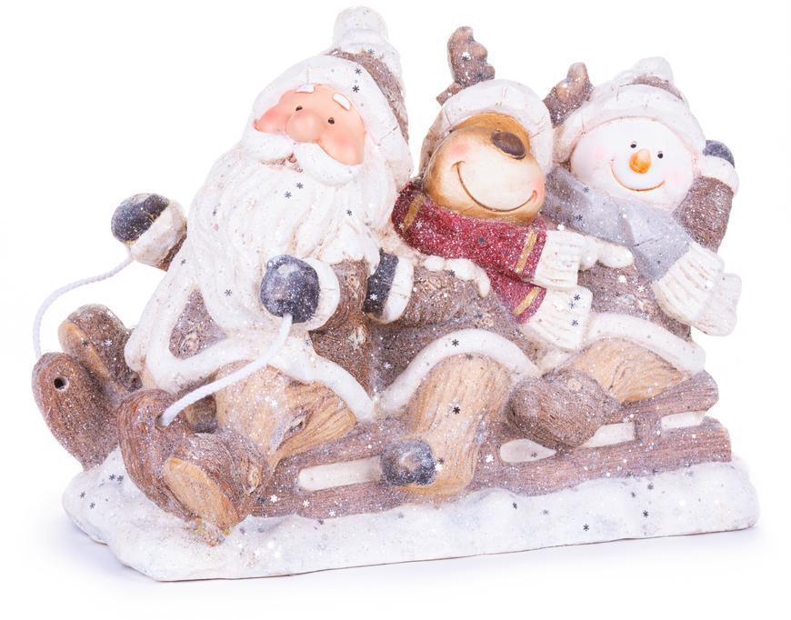 Dekorácia MagicHome Vianoce, Santa, sob a snehuliak na saniach, keramika, 45x23x34,50 cm