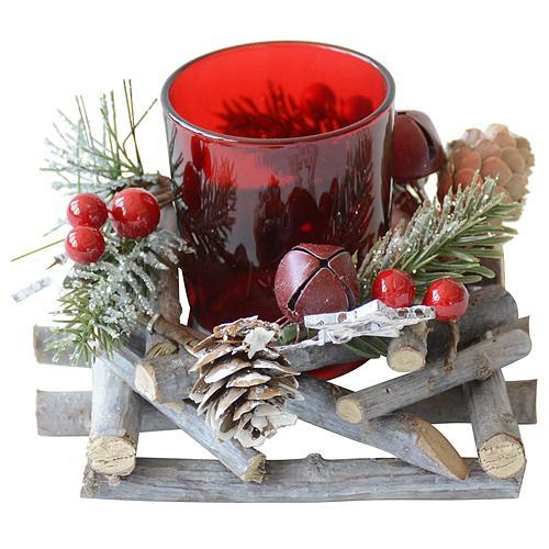 Svietnik MagicHome Vianoce, 12x12x8 cm, červený