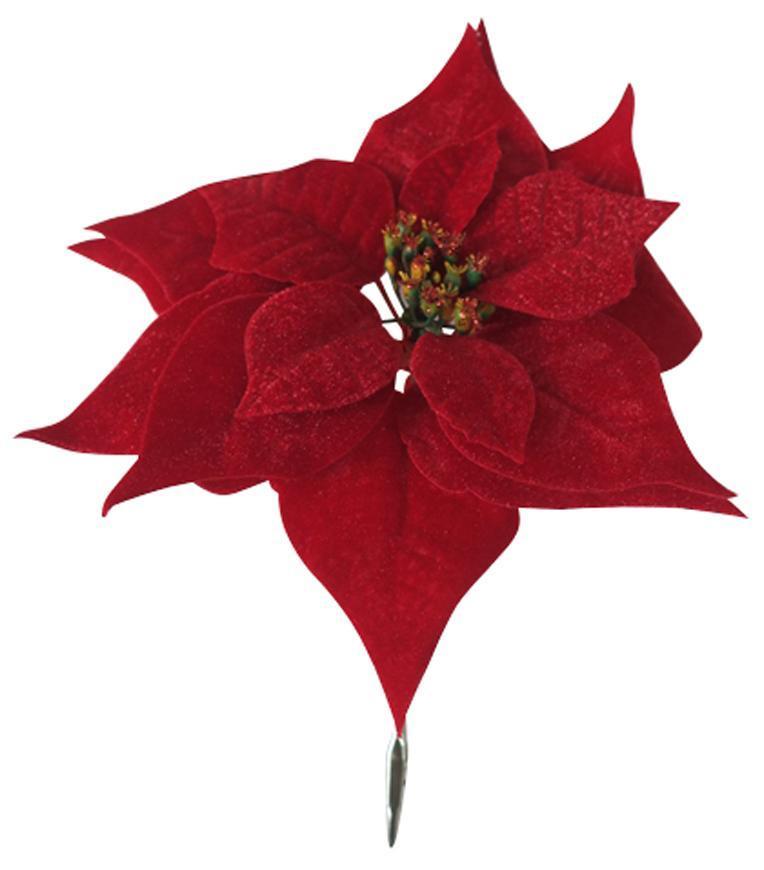 Kvet Poinsettia, so štipcom, červený, 25x26cm, 6 ks