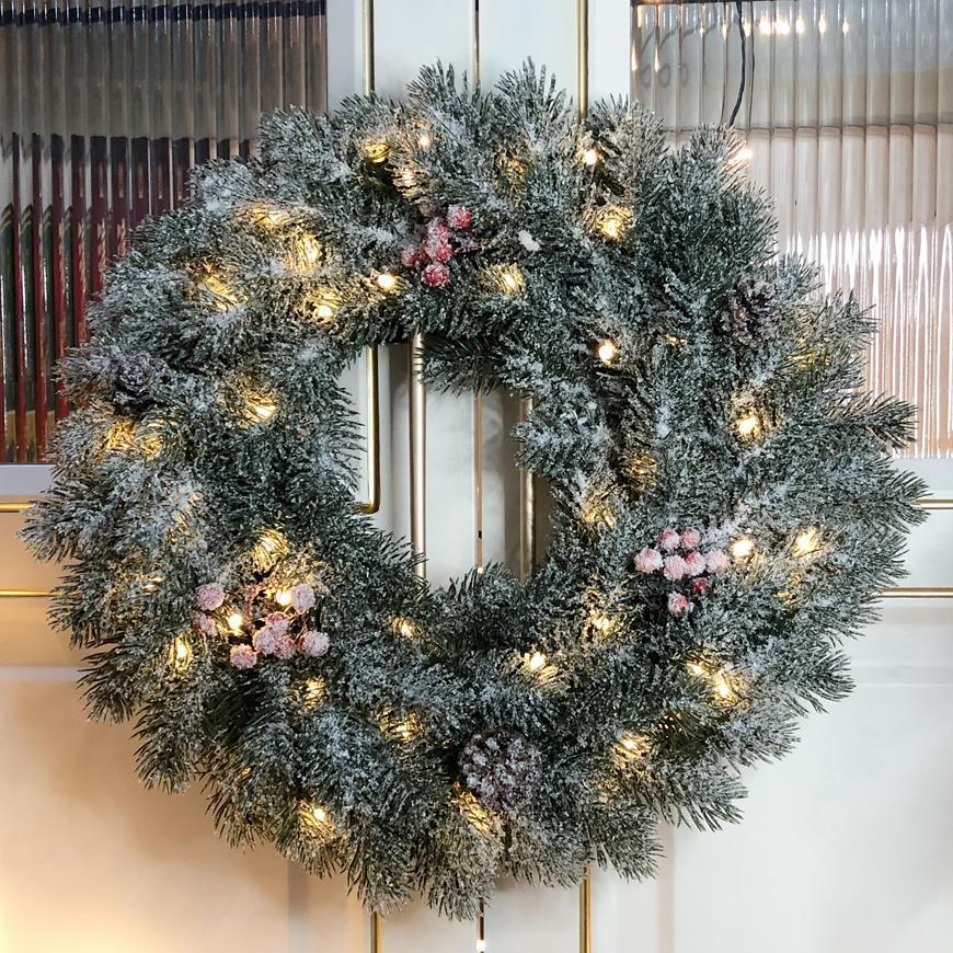Veniec MagicHome Vianoce, prírodný, zasnežený, 48 LED, IP20, 2xAA, 40 cm