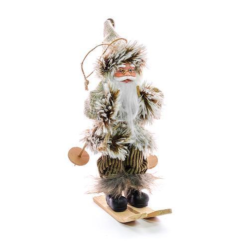 Dekorácia MagicHome Vianoce, Santa na lyžiach, závesný, 18 cm