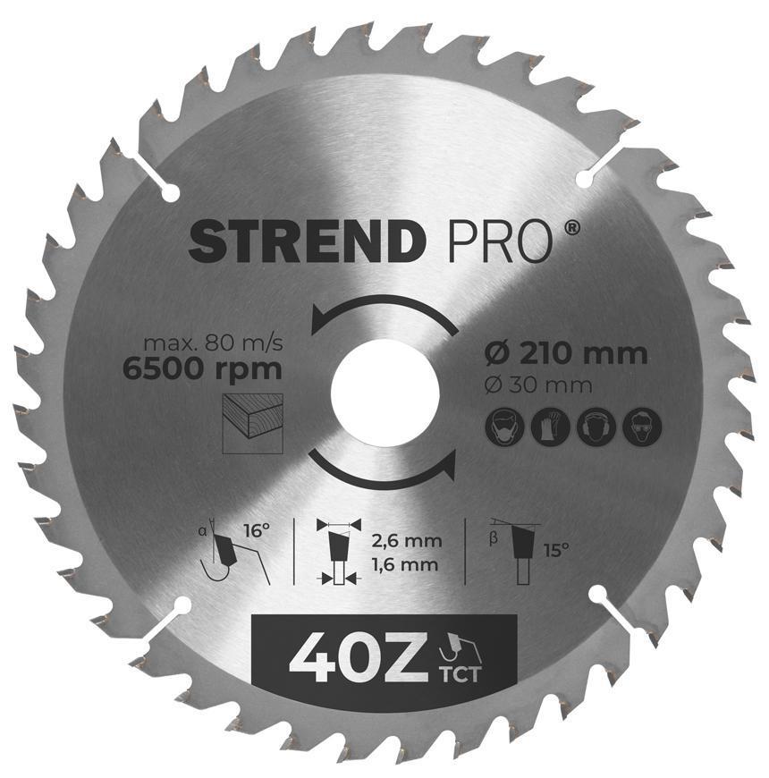 Kotúč Strend Pro TCT 250x3.0x30/20 mm 40T, na drevo, pílový, SK plátkami