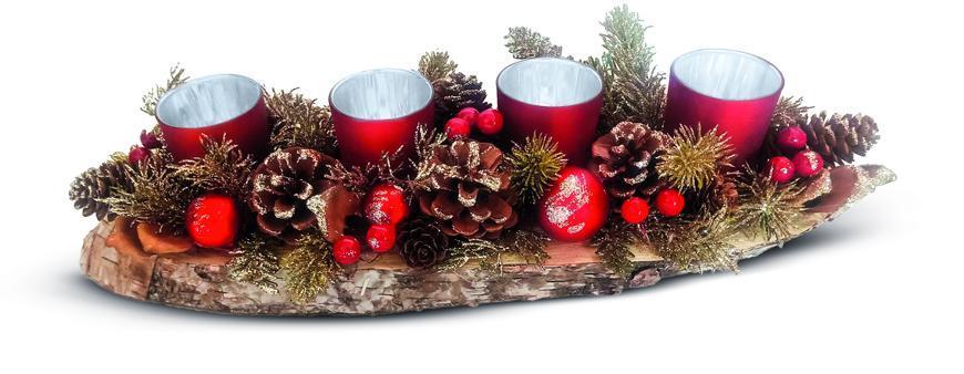 Ikebana MagicHome Vianoce, na dreve, červená, adventná, 45x13x09 cm