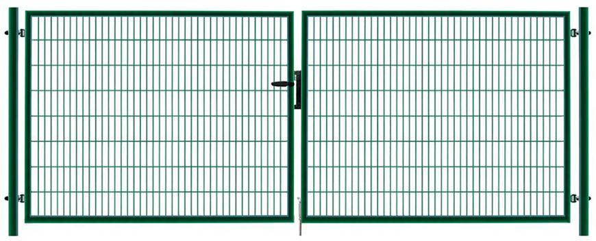 Brana METALTEC DUO 3580/1450/100x50 mm, dvojkridlova, zahradna, zelena, ZN+PVC, RAL6005