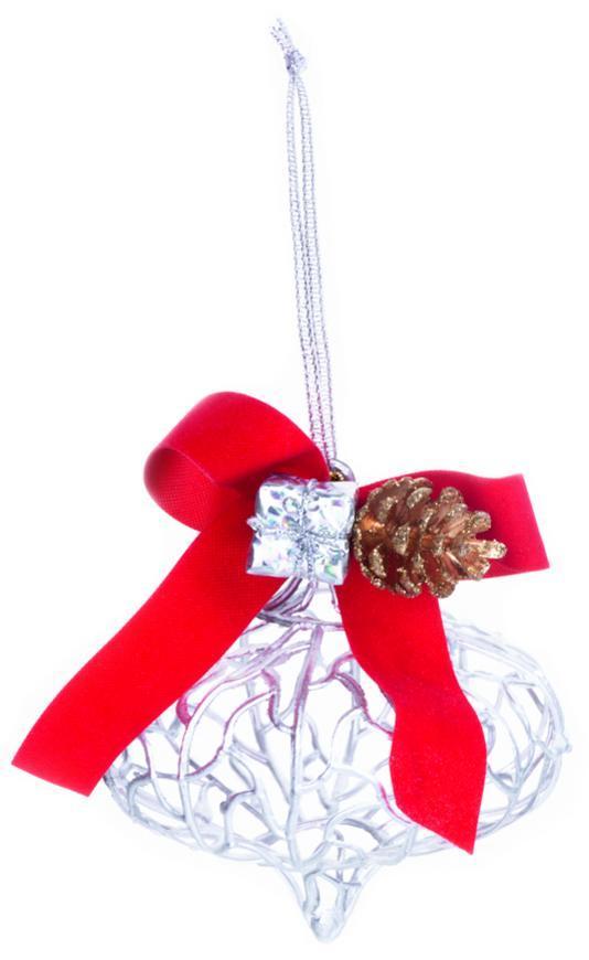 Ozdoba MagicHome Vianoce, strieborná, 10x15 cm