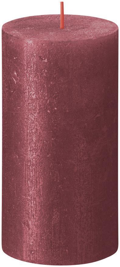 Sviečka Bolsius Rustik Shimmer, valec, červená, 60 hod., 68x130 mm