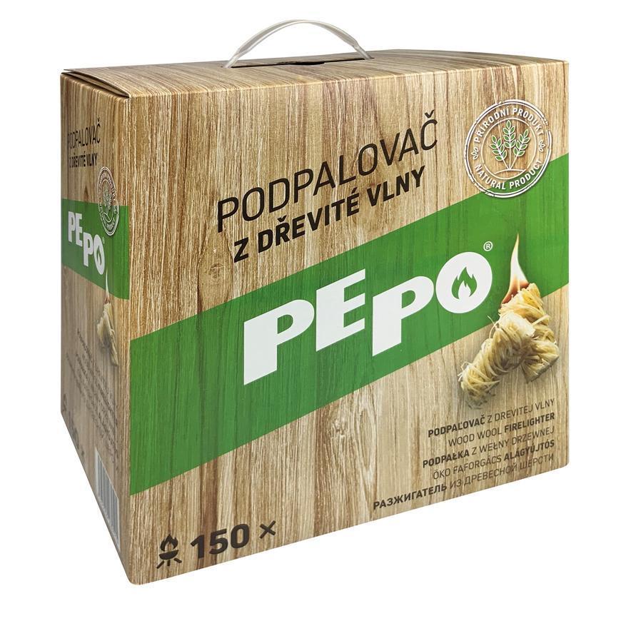 Podpaľovač PE-PO®, drevitá vlna, 150 kúskov