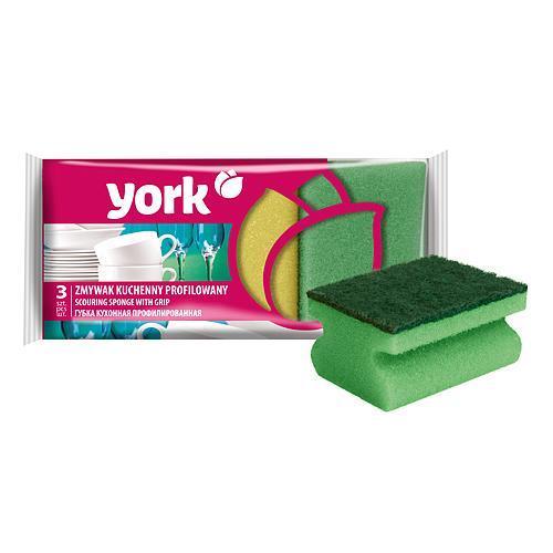 Hubka York 031010, špongia na riad, ergonomická, 9x7x4,3 cm bal. 3 ks