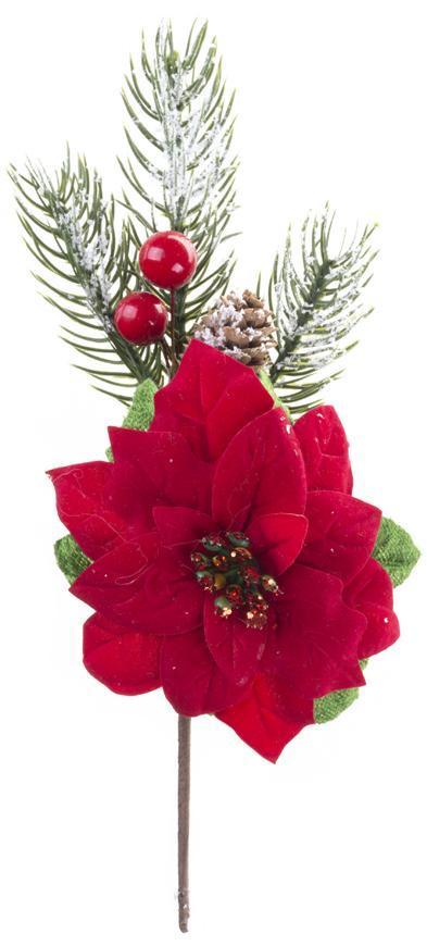 Vetvička MagicHome Vianoce, s kvetom poinsettia, červená, 22 cm, bal. 6 ks