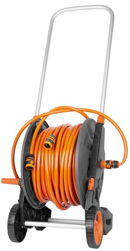 Navíjač Strend Pro, nastaviteľná dýza + 2x rýchlospojka + prípojka na vodovodný kohútik, s hadicou 1