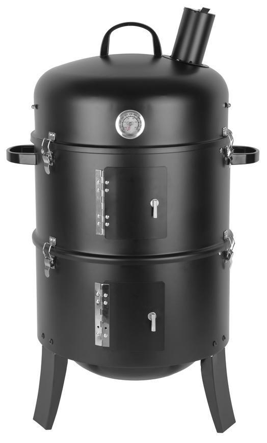 Gril Strend Pro Smoker, BBQ, na drevené uhlie, 3v1 grilovanie, údenie a vodné údenie, 440x780 mm