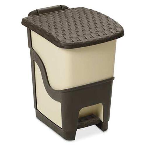 Kôš DEAhome Rattan 18 lit, mliečny, na odpad, pedálový