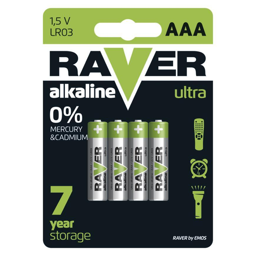 Batéria RAVER Ultra Alkaline, LR03, blister 4 ks AAA mikrotužka