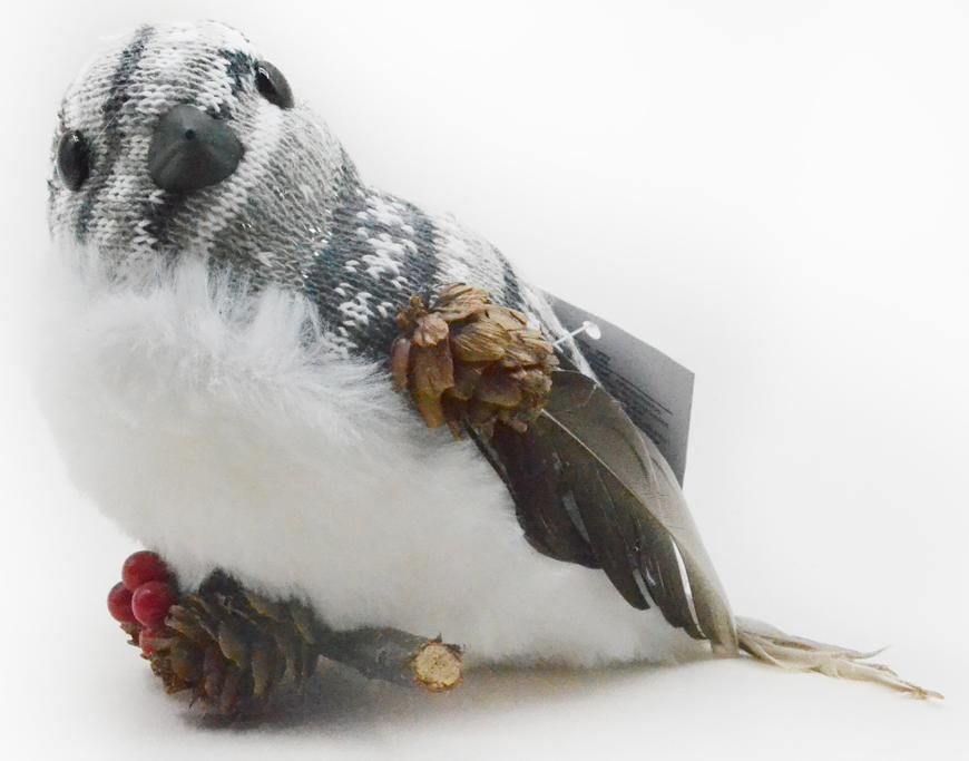 Vtáčik páperový MagicHome, 15x10x12.5 cm, bielo - sivý