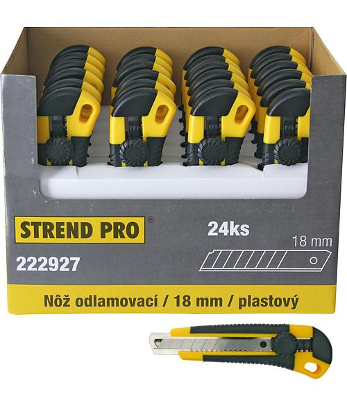 Nôž Strend Pro UKBOX-85, 18 mm, odlamovací, plastový, Sellbox 24 ks