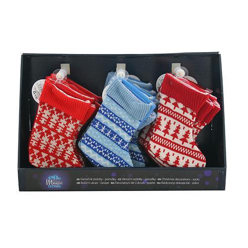 Ozdoba MagicHome Vianoce, ponožka, červená, modrá, vianočný motív, Sellbox 30 ks