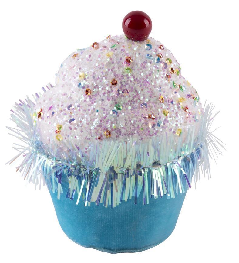 Dekorácia MagicHome Candy Line, mafin, modrý, 7x7x11 cm, závesný