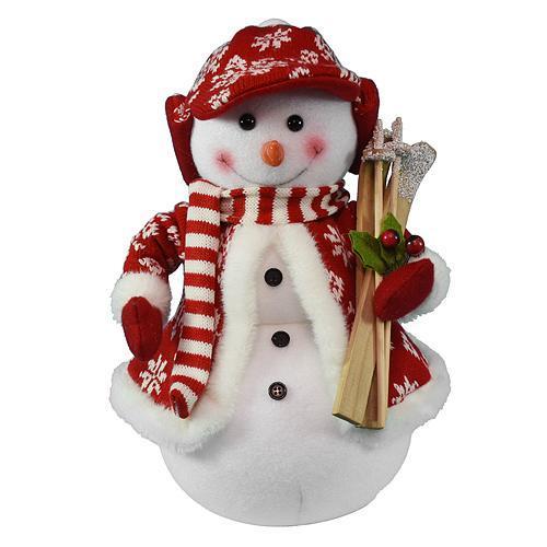 Dekorácia MagicHome Vianoce, Snehuliak s lyžami, 30 cm