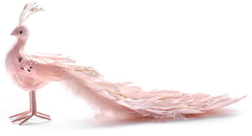 Páv MagicHome, ružový, 33x12x15 cm, páperový