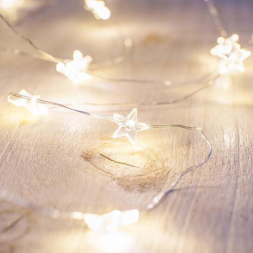 Reťaz MagicHome Micro Star, 20 LED teplá biela, jednoduché svietenie, 3xAA, interiér, L-1,90 m
