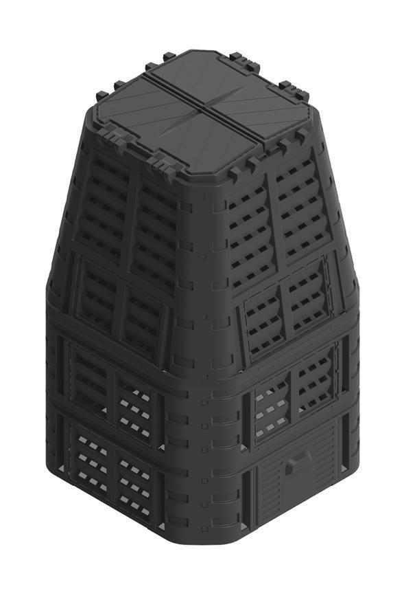 Komposter Patrol ECO Multi 880 lit, čierny, PE