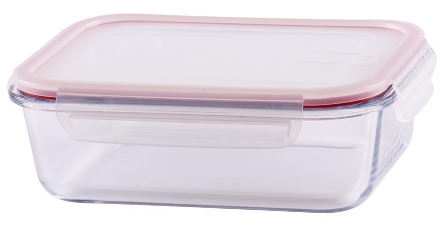 Doza MagicHome BSG2, 1500 ml, 22x17x7 cm, obdĺžniková, borosilikátové sklo/PP, Clip