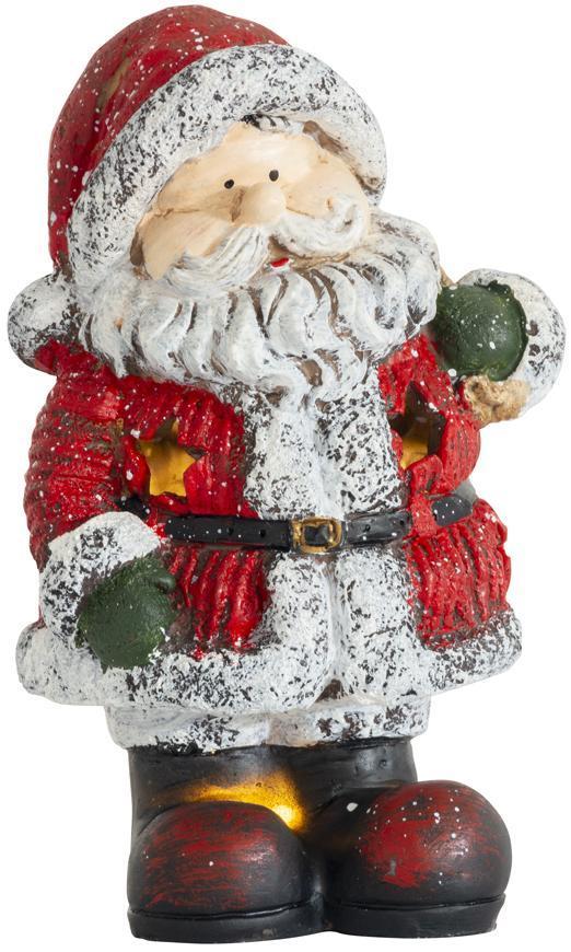 Postavička MagicHome Vianoce, Santa držiaci batoh, 2 LED, polyresin, 13x11x22 cm