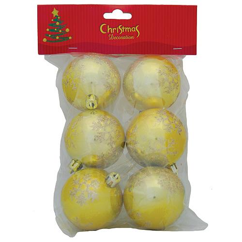 Gule MagicHome Vianoce, 6 dielna, zlaté s vločkami, 6 cm