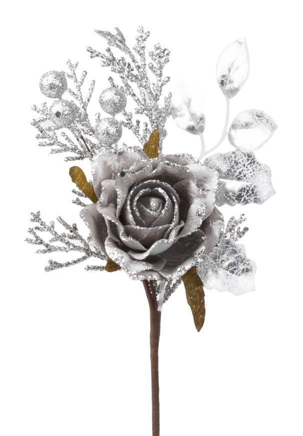 Vetvička s ružou, sivá, 26cm, 6 ks