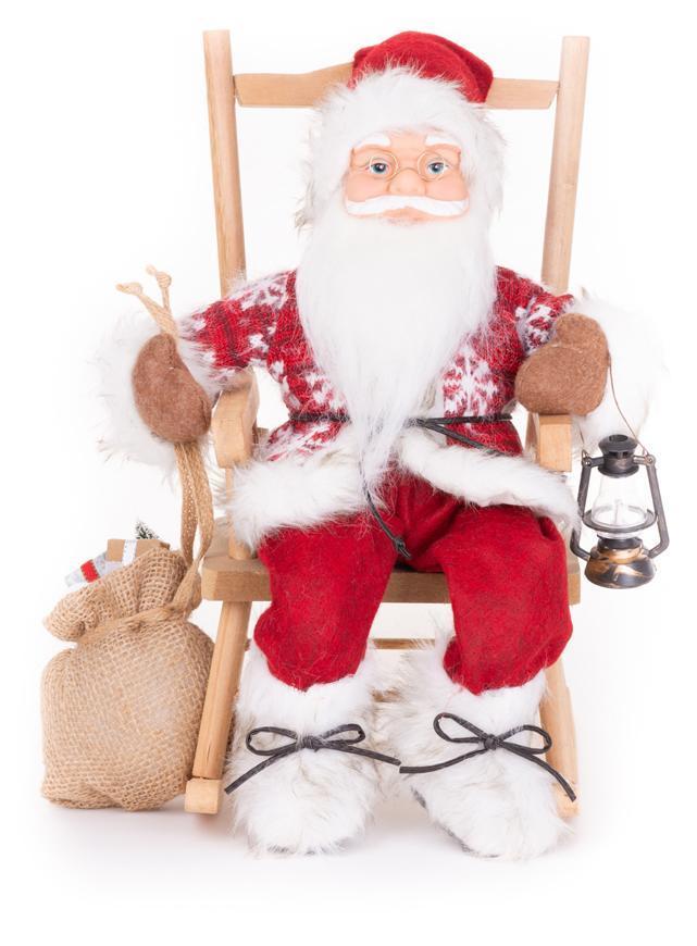 Dekorácia MagicHome Vianoce, Santa, sediaci, 46 cm