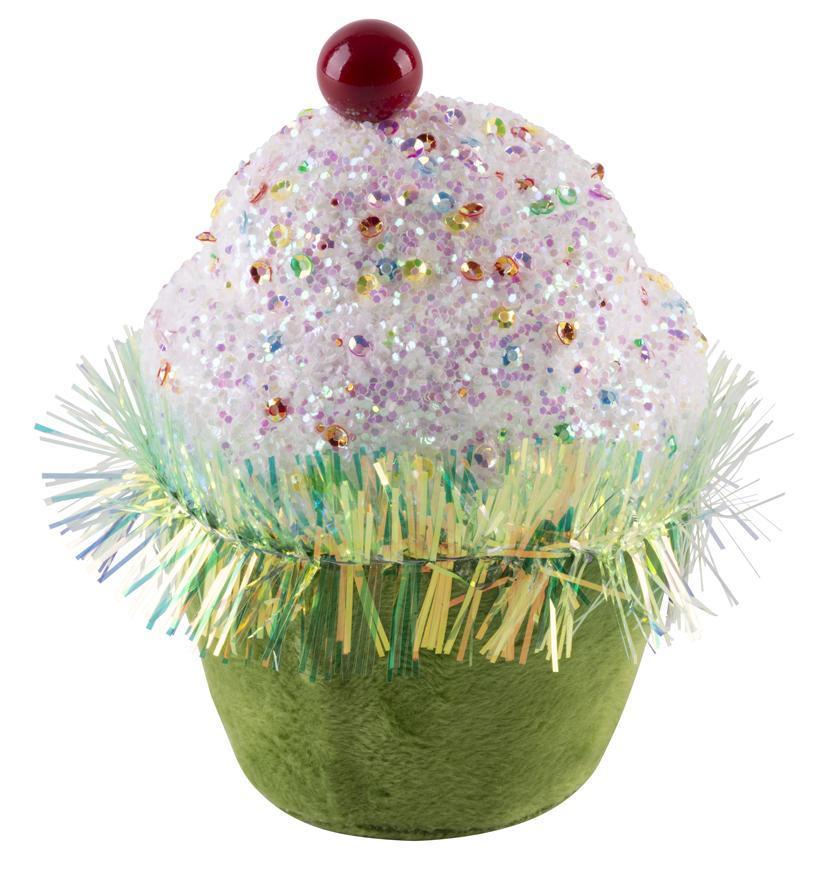 Dekorácia MagicHome Candy Line, mafin, zelený, 7x7x11 cm, závesný