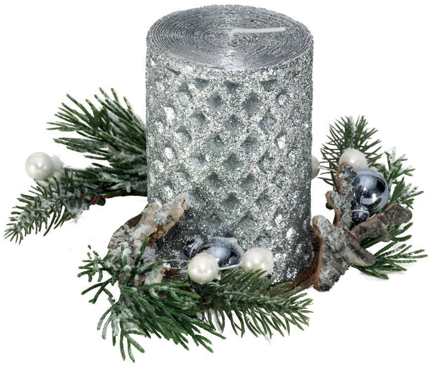 Svietnik MagicHome Vianoce, 15x15x10 cm, strieborný, sviečka