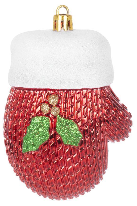 Ozdoba MagicHome Vianoce, sada, 2 ks, 10 cm, rukavice, červené, na vianočný stromček