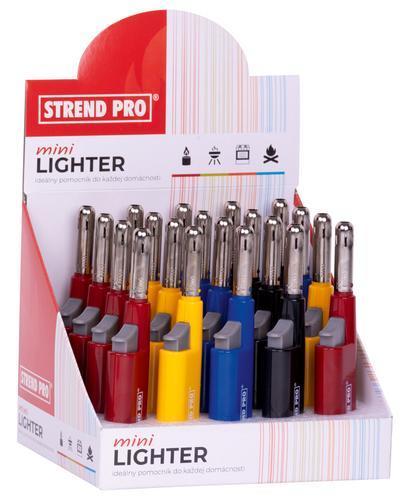 Zapalovač Strend Pro MINI 4 farby, sellbox 20 ks