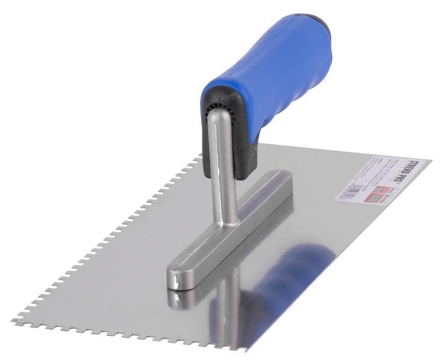 Hladítko Strend Pro Premium, 270x130 mm, e04x04 mm, nerezové, s plastovou rúčkou