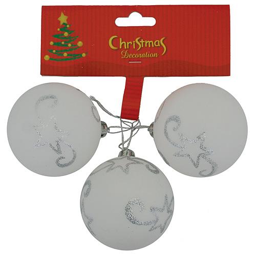 Gule MagicHome Vianoce, 3 ks, biele so striebornou hviezdou, 5 cm