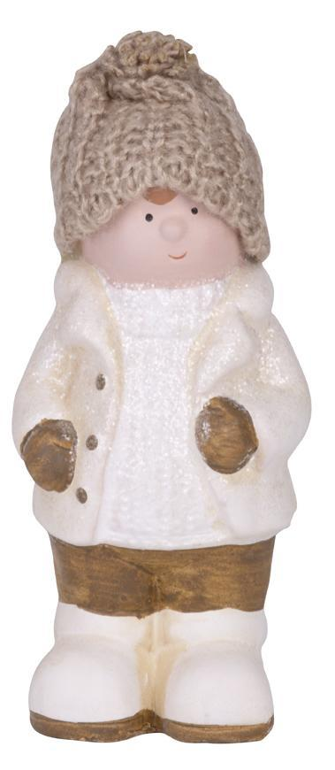 Postavička MagicHome Vianoce, Chlapček bacuľatý s čiapočkou, terakota, 15,5 cm