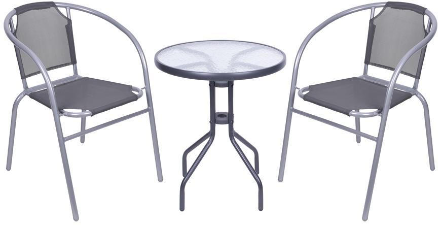 Set balkónový BRENDA, šedý, stôl 72x59 cm, 2x stolička 60x71 cm