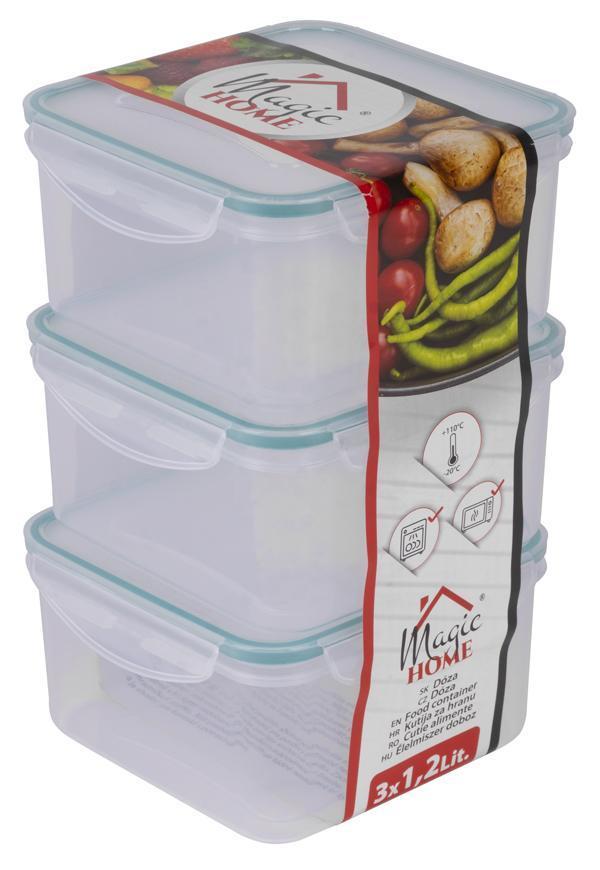 Doza MagicHome Lunchbox Q812x3 1,2 lit, štvorcová, klip, PP, sada 3 ks, Clip