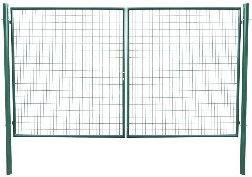 Brána Strend Pro METALTEC DUO, 3580/1450/100x50 mm, zelená, dvojkrídlová, záhradná, ZN+PVC, RAL6005