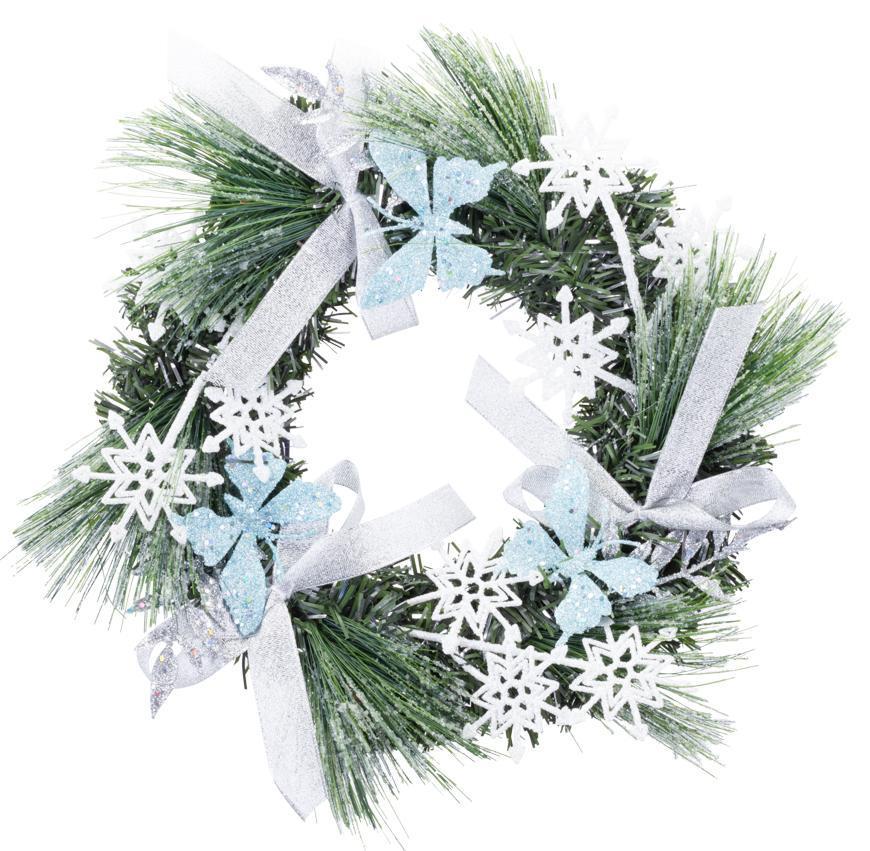 Veniec MagicHome Vianoce, prírodný, s mašľami a motýlmi, 35 cm