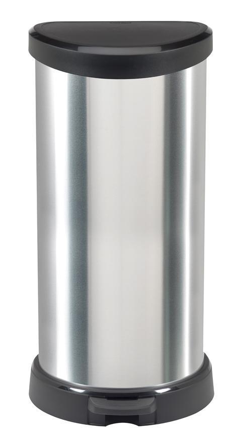 Kôš Curver® DECO BIN 40L, strieborný/čierný, na odpad